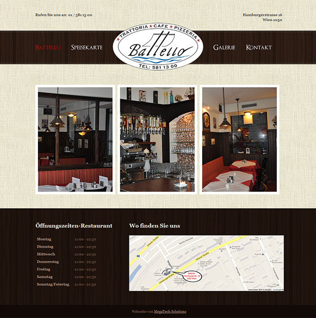 Website for pizzeria Battello