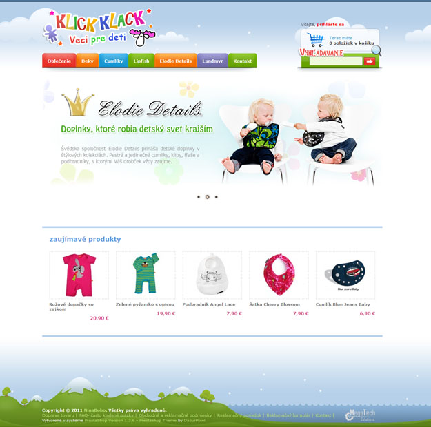 Eshop with children clothing