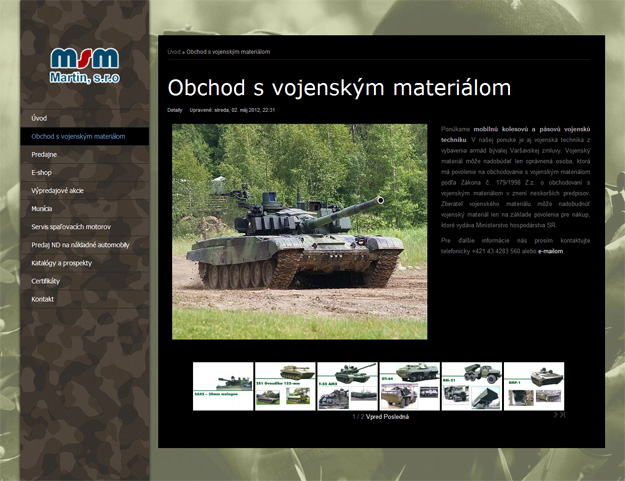 Website focused on military equipment