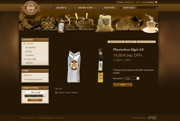 E-shop with cofee