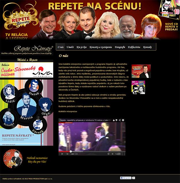 Website for entertainment program