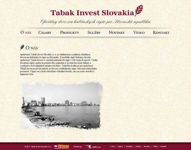 Webstránka - import kubánskych cigár